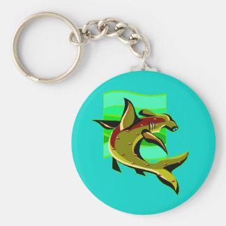 Tiburón de Hammerhead verde Llavero Redondo Tipo Pin