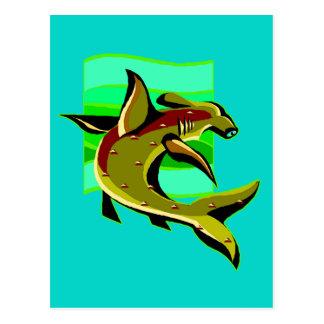 Tiburón de Hammerhead verde Postal