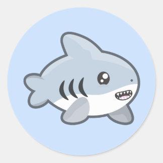Tiburón de Kawaii Pegatina Redonda