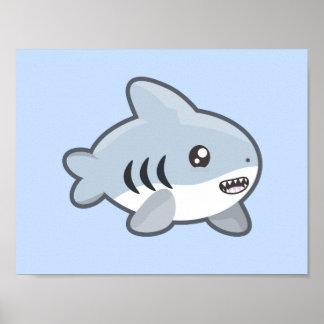 Tiburón de Kawaii Póster