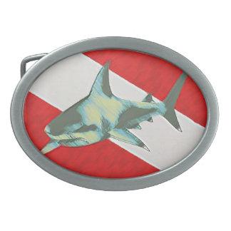 tiburón de la bandera del salto hebilla de cinturon oval