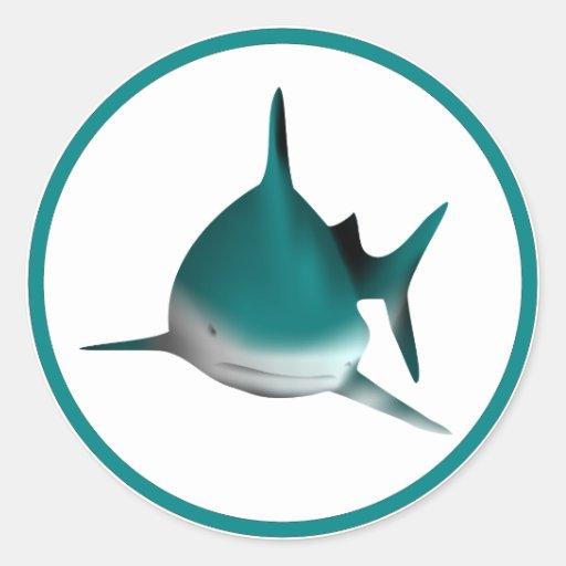 Tiburón de la diversión pegatina redonda