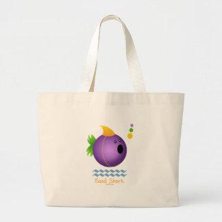 Tiburón de la gota del carnaval (púrpura) bolsa tela grande