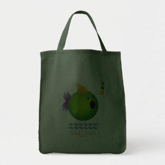 Tiburón de la gota del carnaval (verde) bolsa tela para la compra