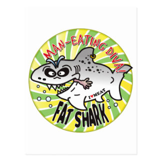 Tiburón de la grasa de la diva postales