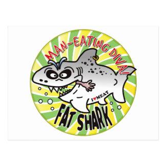 Tiburón de la grasa de la diva tarjeta postal