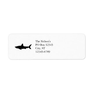Tiburón de la natación etiqueta de remite