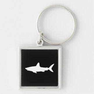 Tiburón de la natación llavero cuadrado plateado