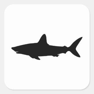 Tiburón de la natación calcomanías cuadradas