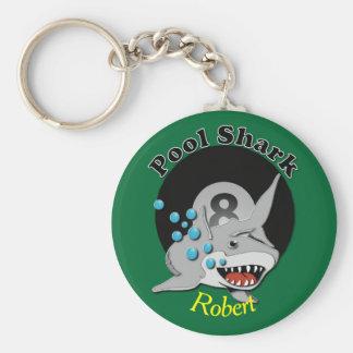 Tiburón de la piscina de ocho bolas llaveros personalizados