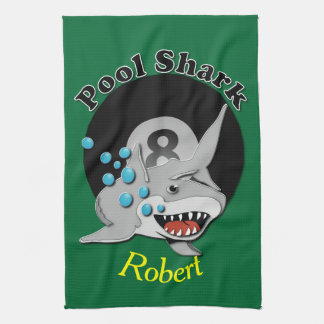 Tiburón de la piscina de ocho bolas toalla de mano