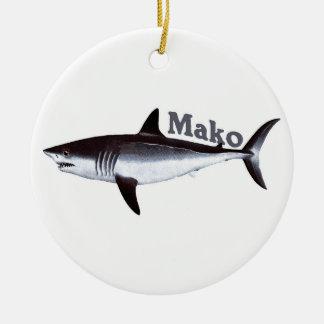 Tiburón de Mako del vintage Adorno Navideño Redondo De Cerámica