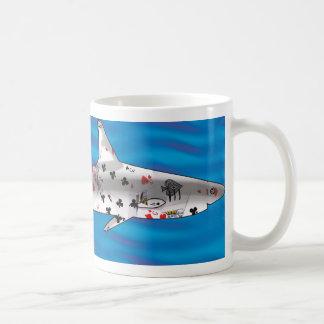 Tiburón de tarjeta tazas