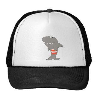 Tiburón del dibujo animado con un cubo de pollo fr gorras