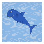 Tiburón del dibujo animado poster