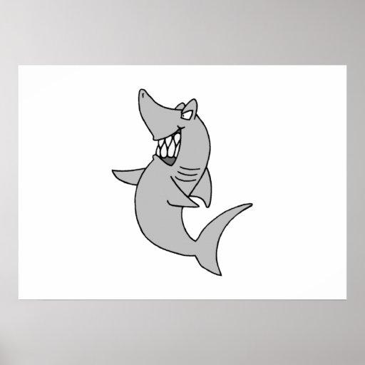 Tiburón del dibujo animado póster