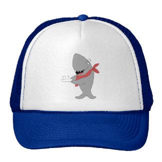 Tiburón del dibujo animado que sostiene la placa d gorras de camionero