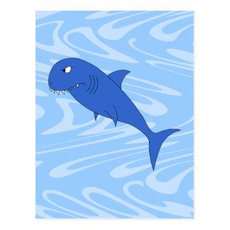Tiburón del dibujo animado tarjeta postal
