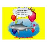 Tiburón del fiesta que habla postal