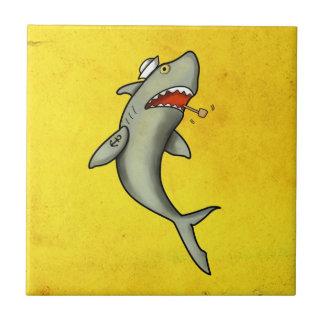 Tiburón del marinero de la escuela vieja azulejo cuadrado pequeño