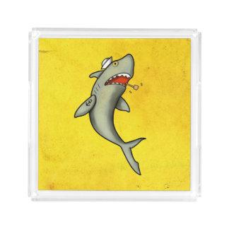 Tiburón del marinero de la escuela vieja bandeja cuadrada