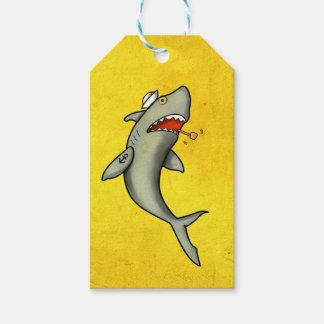 Tiburón del marinero de la escuela vieja etiquetas para regalos