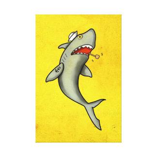 Tiburón del marinero de la escuela vieja impresión en lona estirada