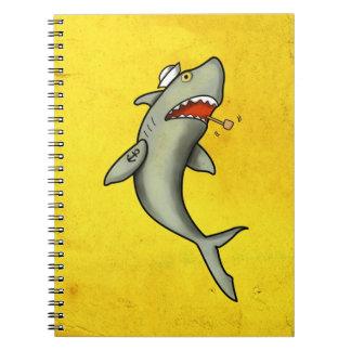 Tiburón del marinero de la escuela vieja libros de apuntes con espiral