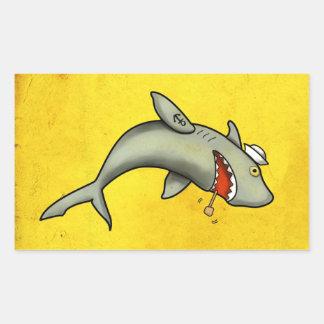 Tiburón del marinero de la escuela vieja pegatina rectangular