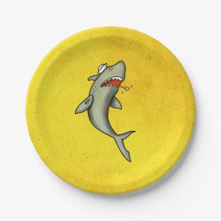 Tiburón del marinero de la escuela vieja plato de papel de 7 pulgadas