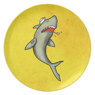 Tiburón del marinero de la escuela vieja platos para fiestas