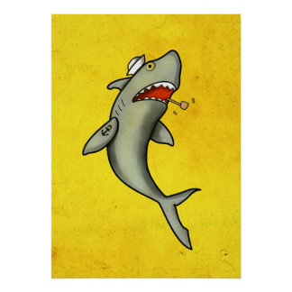 Tiburón del marinero de la escuela vieja póster