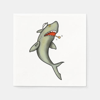 Tiburón del marinero de la escuela vieja servilleta de papel
