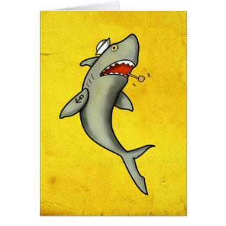 Tiburón del marinero de la escuela vieja tarjeta de felicitación