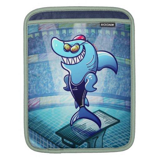 Tiburón del nadador mangas de iPad
