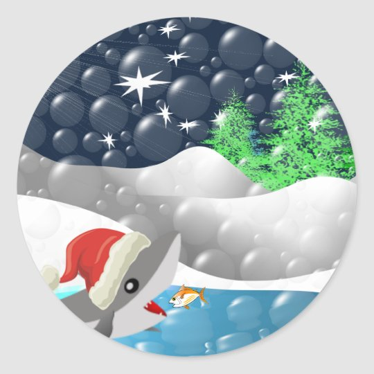 Tiburón del navidad pegatina redonda