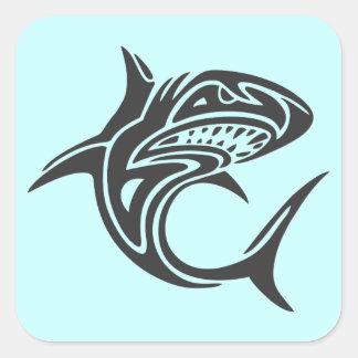 Tiburón del tatuaje pegatina cuadrada