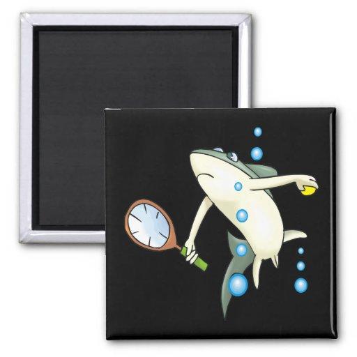 Tiburón del tenis iman para frigorífico