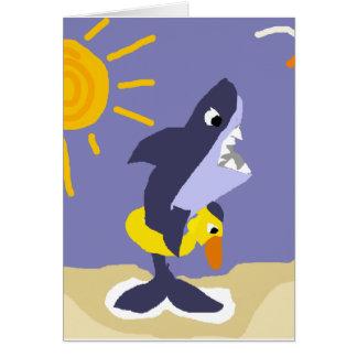 Tiburón divertido con el conservante de vida tarjeta de felicitación