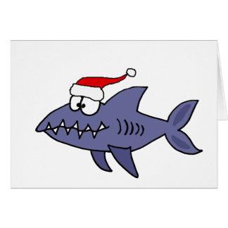 Tiburón divertido en arte del navidad del gorra de tarjetas