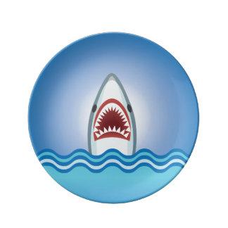 Tiburón divertido platos de cerámica