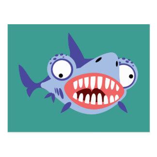 Tiburón divertido postal