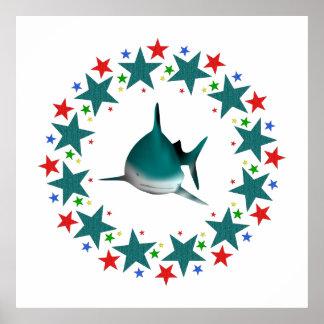 Tiburón en estrellas póster