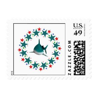 Tiburón en estrellas sellos postales