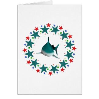 Tiburón en estrellas tarjeta de felicitación
