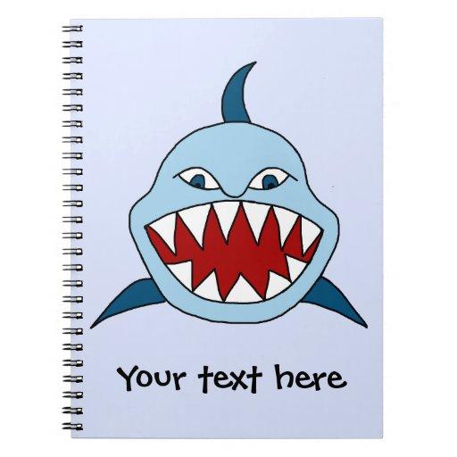 Tiburón enojado libros de apuntes