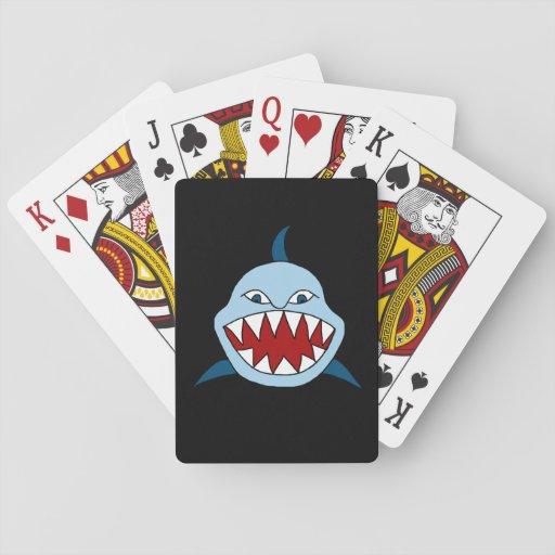 Tiburón enojado cartas de póquer
