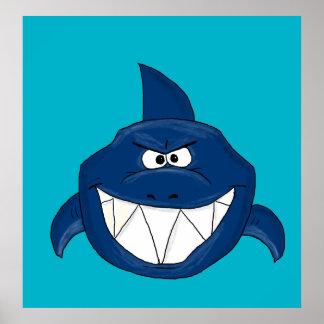 Tiburón enojado póster