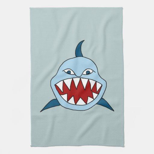 Tiburón enojado toallas de cocina