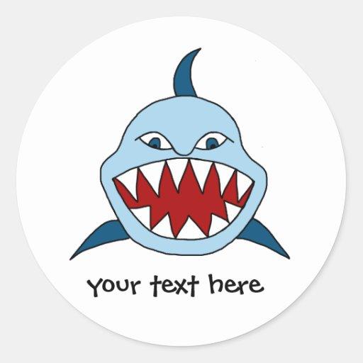 Tiburón enojado pegatinas redondas